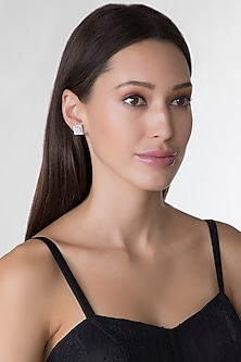 White Finish Princess Cut Swarovski Zirconia Earrings by Diosa Paris