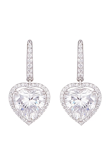 White Finish Round Cut Swarovski Zirconia Earrings by Diosa Paris