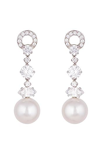 White Finish Pearls & Swarovski Zirconia Earrings by Diosa Paris