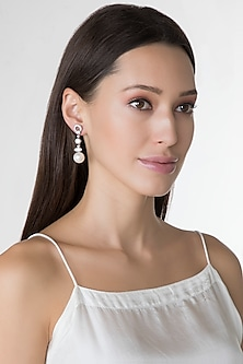 White Finish Pearls & Swarovski Zirconia Earrings by Diosa Paris