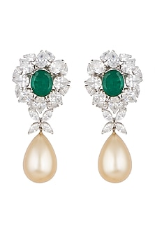 White Finish Green Oval Swarovski Zirconia Earrings by Diosa Paris