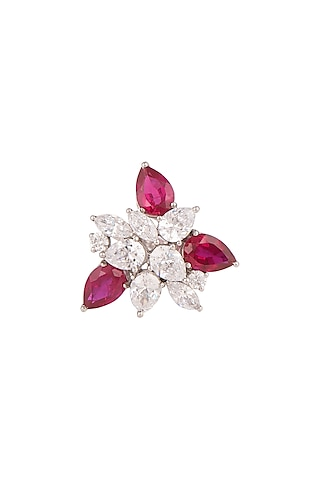 White Finish Swarovski Ring by Diosa Paris