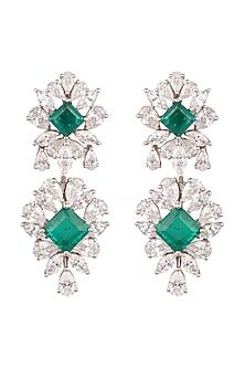White Finish Dangler Earrings With Swarovski by Diosa Paris