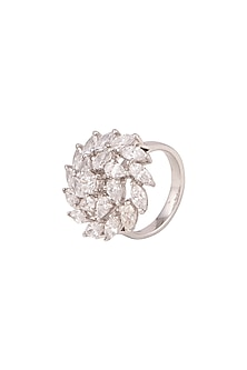 White Finish Swarovski Zirconia Ring by Diosa Paris