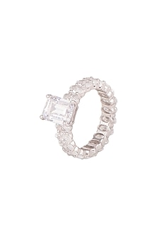 White Finish Cocktail Ring by Diosa Paris