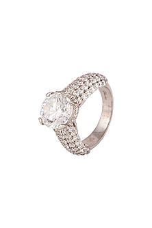 White Finish Ring With Swarovski by Diosa Paris