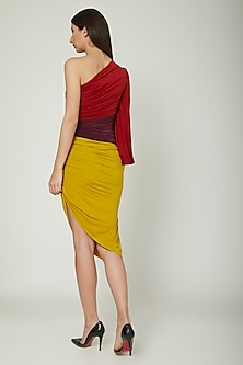 Multi Colored Dress With Ruching by Sameer Madan