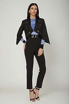 Black Jacket With Metal Zipper by Sameer Madan