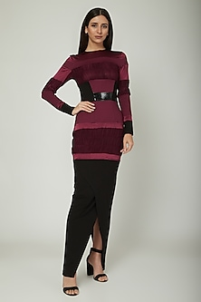 Purple Bodycon Dress With Ruching by Sameer Madan