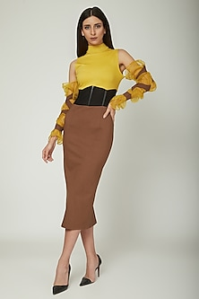 Yellow Color Blocked Dress by Sameer Madan