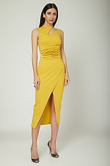 Yellow Bodycon Cut Out Dress by Sameer Madan