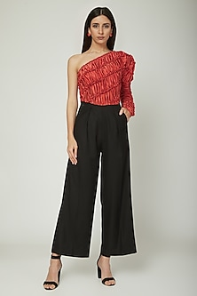 Red & Black One Shoulder Jumpsuit by Sameer Madan