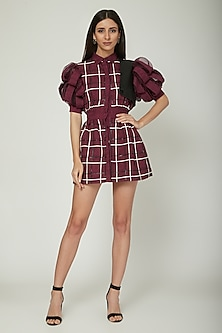 Purple Checkered Dress With Puffed Sleeves by Sameer Madan