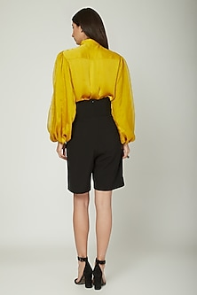 Mustard Yellow Shirt With Balloon Sleeves by Sameer Madan