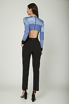 Blue & Black Jumpsuit With Leather Sleeves by Sameer Madan