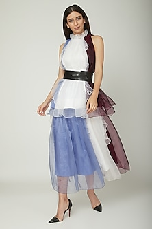 White Organza Ruffled Skirt by Sameer Madan
