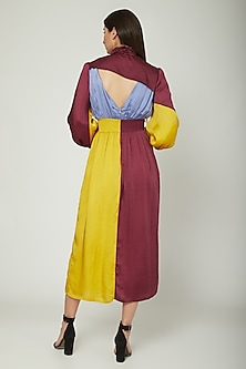 Multi Colored Cotton & Satin Dress by Sameer Madan