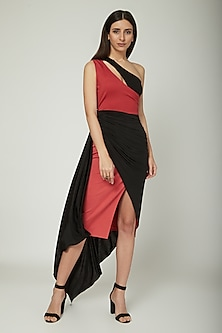 Red & Black Draped Dress by Sameer Madan