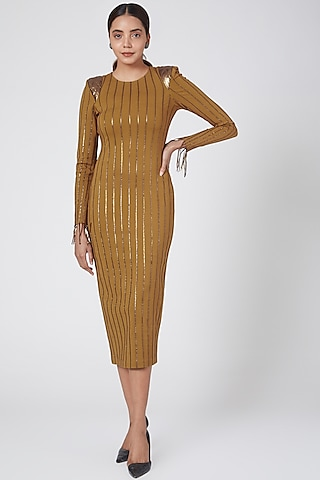 Gold Striped Dress by Sameer Madan