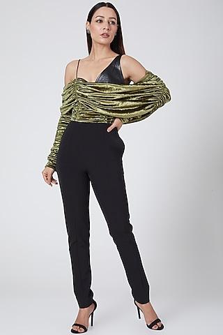 Olive Green & Black Jumpsuit by Sameer Madan