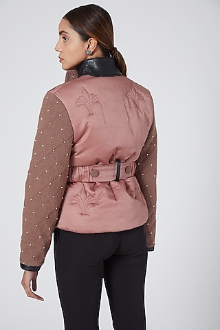 Pink Faux Leather Jacket by Sameer Madan