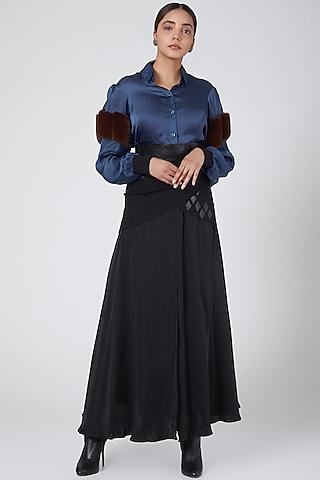Black Gathered Skirt by Sameer Madan