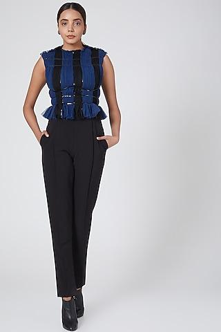 Black & Blue Striped Jumpsuit by Sameer Madan