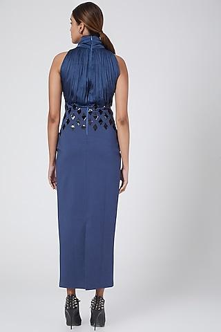 Indigo Blue Embelished Dress by Sameer Madan