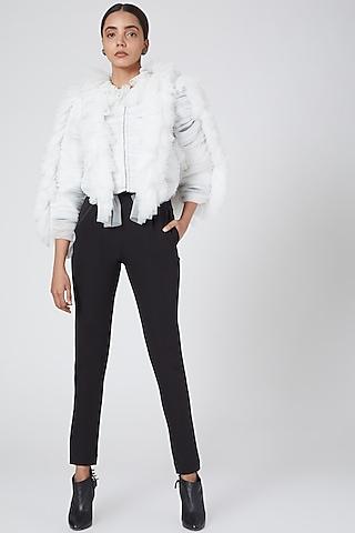 White Asymmetric Jacket by Sameer Madan