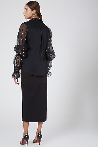 Black Centre Slit Skirt by Sameer Madan
