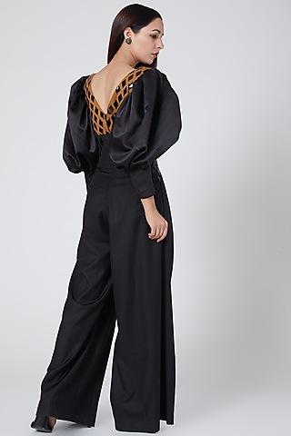 Black & Gold Embellished Bodysuit by Sameer Madan