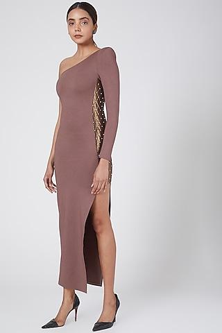 Pink One Shoulder Embellished Dress by Sameer Madan
