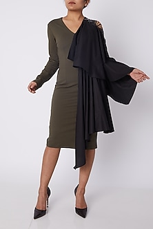 Olive Green & Black Draped Dress by Sameer Madan