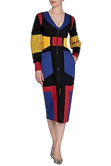 Multi Colored Elasticated Dress by Sameer Madan
