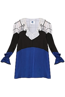 Black & Blue Color Blocked Top by Sameer Madan