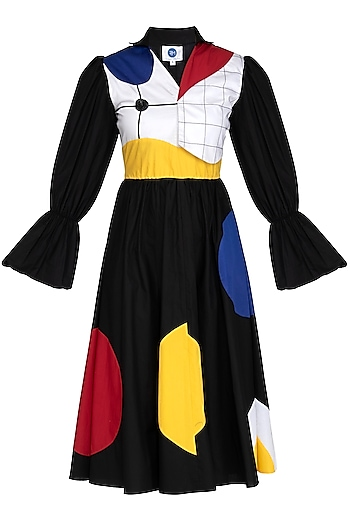 Black Color Blocked Embroidered Dress by Sameer Madan