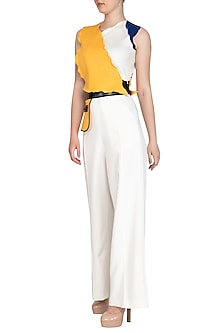 Yellow Color Blocked Crop Top by Sameer Madan