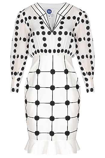 White Printed Embroidered Monochrome Dress by Sameer Madan