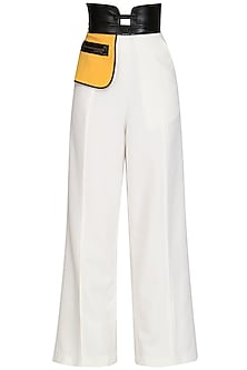 White High Waisted Pants by Sameer Madan