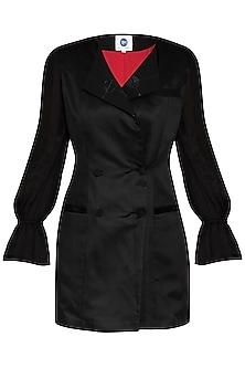 Black Embellished Blazer Dress by Sameer Madan