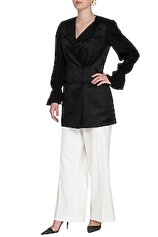 Black Embellished Blazer Dress by Sameer Madan