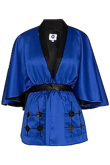 Blue Cape Top With Patch Pockets by Sameer Madan