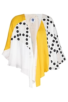 White Color Block Printed Cape by Sameer Madan