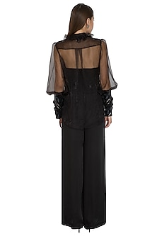 Black Organza Embellished Shirt by Sameer Madan