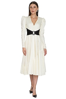 White Diagonal Gathered Dress by Sameer Madan