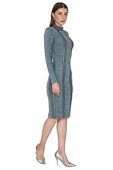 Grey Bodycon High Neck Dress by Sameer Madan