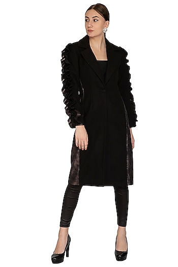 Black Faux Leather Overcoat by Sameer Madan