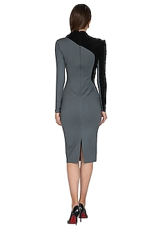 Grey Ruched Bodycon Dress by Sameer Madan