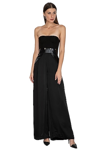 Black Corset Jumpsuit With Waist Belt by Sameer Madan