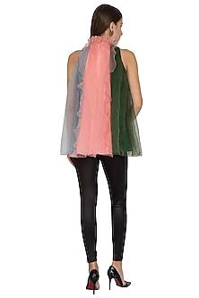 Blush Pink High Neck Ruffled Dress by Sameer Madan